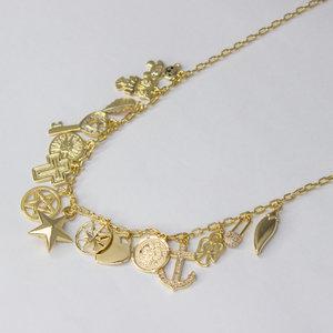 Colar Longo Medalhas PLAQUETTES Corrente Cartier Ouro (2 maneiras de usar)