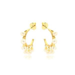 Argola com Perolas Barrocas penduradas ouro