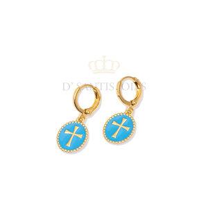 Argola Pequena Medalha Cruz Esmaltada Azul Ouro