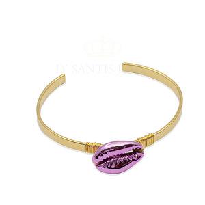 Bracelete Buzios Rosa Ouro18k