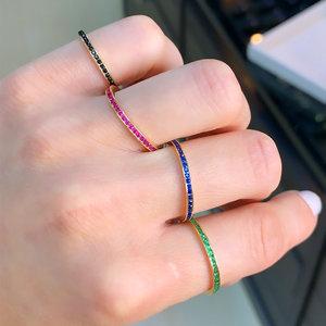 Anel Rainbow Esmeralda, Rubi, Safira e Negra Ouro (Escolha a cor)