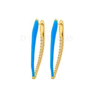 Brinco Ponta Colors Esmaltada Azul cravejado interno Ouro18k