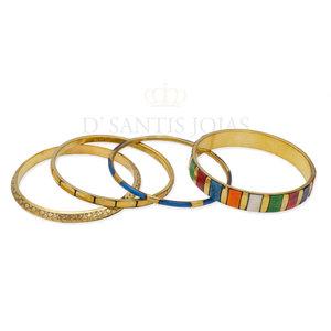 Mix pulseiras Indian Ouro Esmaltadas