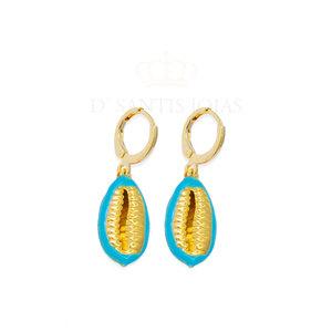 Argola Buzios Esmaltada Azul Ouro18k