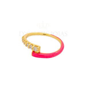 Anel Duplo Cravejado e Esmaltado Pink Neon Ouro18k