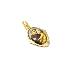 Pingente imagem Santo Antonio com Menino Jesus Ouro