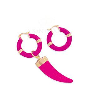 Argola Atenas Esmaltada Fucsia com Dente Pink Ouro18k
