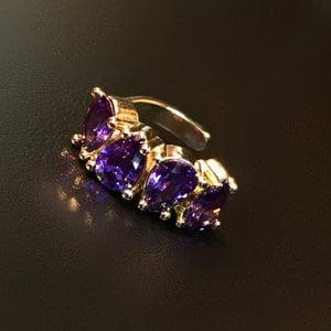 piercing gotas tanzanita ouro