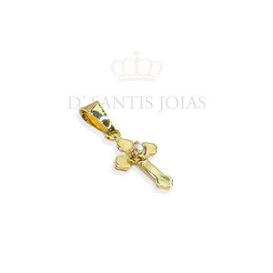 Pingente Cruz com detalhe pérola ouro