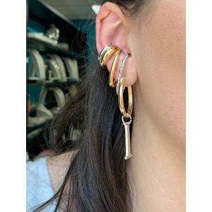 Brinco ear hook textura torcida rodio (unitário)