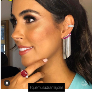 Brinco Ear Cuff Navetes Rubi com Franjas Prata925