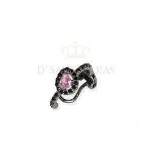Piercing com Gota rosa Cravejada Negra Prata925