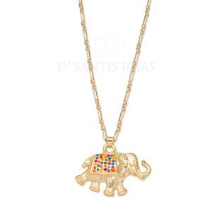 Colar com Elefante Esmaltado Ouro