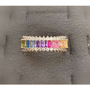 Anel Rainbow Todo de Baguetes Zirconias coloridas ouro