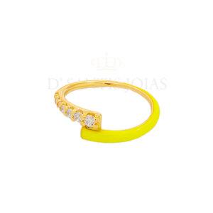 Anel Duplo Cravejado e Esmaltado Amarelo Neon Ouro18k