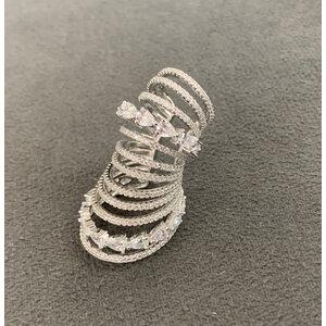 Piercing Maxi Fileiras Cravejadas Lisas e Gotas Cristais Prata925