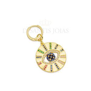 Argola e pingente medalha olho grego cravejado rainbow ouro 18k unitário