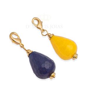 Pingente Gota Jade Natural Ouro (escolha a cor)