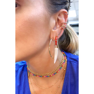 Brinco Ear Cuff Palito Rainbow Ouro18k