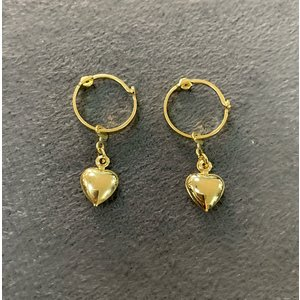 Argola Mini 1,2 cm com Pingente Coração Ouro