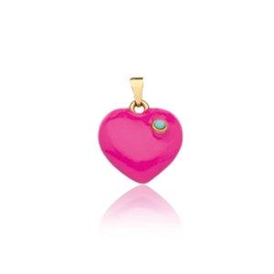Pingente Coração Esmaltado Pink Ouro