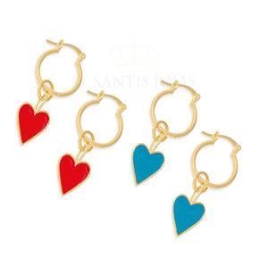 Argola com Coração Esmaltado Ouro18k (escolha a cor)