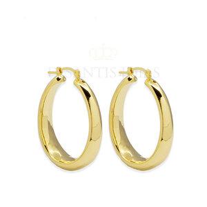 Argola Oval Vintage Bold Ouro