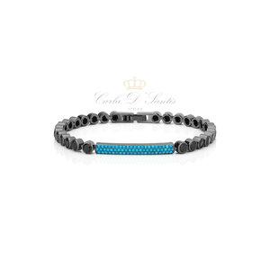 Pulseira Riviera Negra com zirconias azuis
