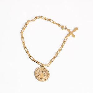 Pulseira São Bento com Crucifixo Ouro