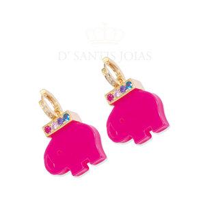 Argola Cravejada com Elefante Resina Pink Ouro
