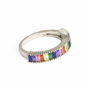 Anel Meia Aliança Baguetes Rainbow Rodio