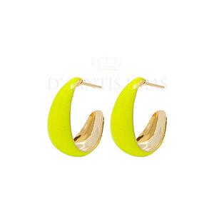Argola Lagrima M 2cm3mm Esmaltada Amarela Neon