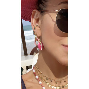 Argola Clip Rosa Ouro 18k