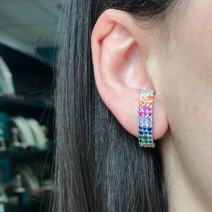 Brinco Ear Hook Rainbow 3 Linhas Cravejadas Rodio