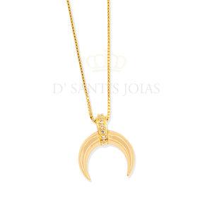 Colar Pingente Chifre com detalhe Cravejado Ouro