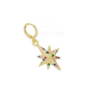 Argola Estrela 8 pontas com Zirconias Rainbow Ouro18k (unitaria)