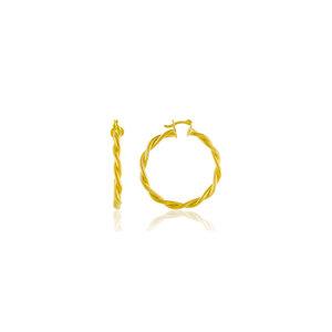 Argola Torcida Fechada 1 cm Ouro18k