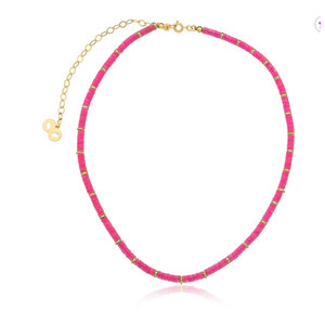 Colar Angola Pastilhas Pink Ouro