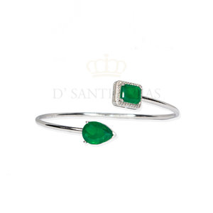 bracelete gota & quadrado cravejado esmeralda prata925