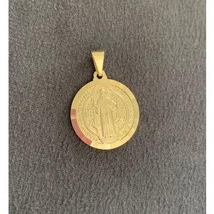 Pingente Sao Bento 2.5cm volta trabalhada Ouro18k