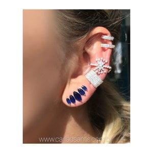 Ear Cuff Navete Safira Rodio Prata925