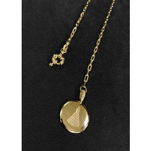 Colar Medalha Nossa Senhora Cravejada Corrente Cartier Ouro com fecho Boia