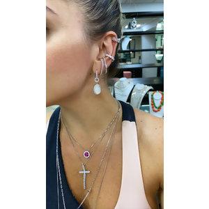 Brinco Ear Hook Cravejado com Gota Cristal Prata925