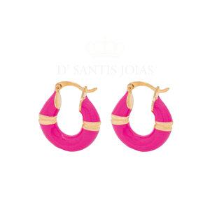 Argola Atenas Tubo Esmaltada Pink ouro18k