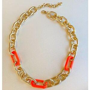 Colar Elos com Esmaltação laranja Neon