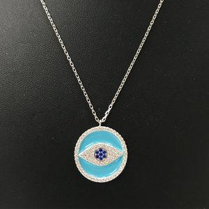 Colar Medalha Olho Grego Esmaltado em Azul Prata925