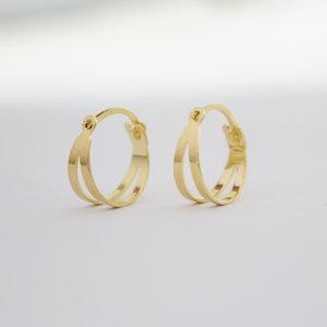 Argola Mini detalhe Duplo 1 cm Ouro