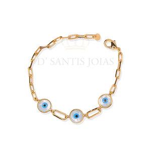 pulseira modelo cartier com olho grego ouro
