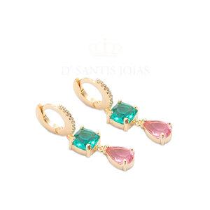 Argola Cravejada com Quadrado Paraiba e Gota Safira Rosa Ouro