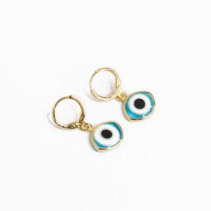 Argola Olho Grego Navete Azul Claro Ouro